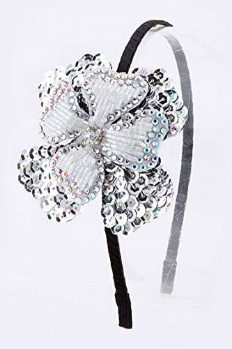 Trendy Fashion Jewelry Beaded Sequins Double Flower Headband By Fashion Destination | (Silver) -