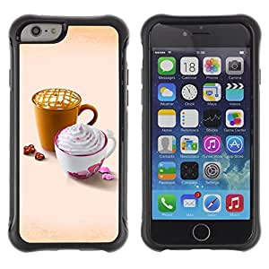 Pulsar Defender Series Tpu silicona Carcasa Funda Case para Apple iPhone 6(4.7 inches) , Design Cute Whip Coffee