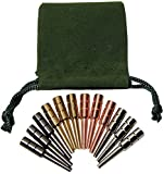 "Premium Metal Cribbage Pegs _ Set of 12 _ in Four Different Colors _ 1 5/16"" Tall; Tapered to Fit 1/8 holes _ Bonus Green Velveteen Drawstring Storage Pouch"