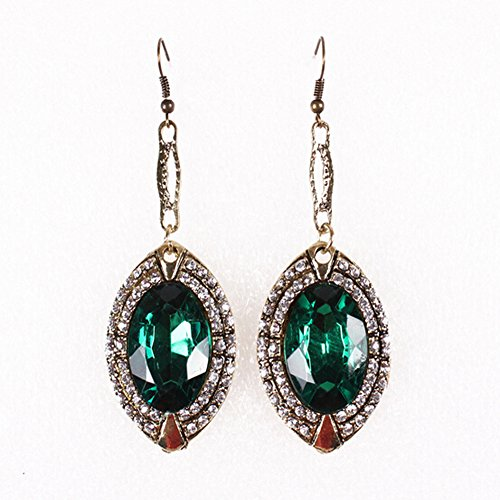Pearl Round Green Sea South (HeyGirl Black Friday Retro Exaggerated Long Paragraph Emerald Diamond Earrings)
