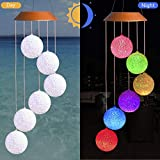 CXFF LED Solar Ball Wind Chimes Outdoor - Waterproof Solar Powered LED Changing Light Color Six Balls Mobile Romantic Wind-Bell Light for Home, Party, Festival Decor, Night Garden Decoration (Ball)