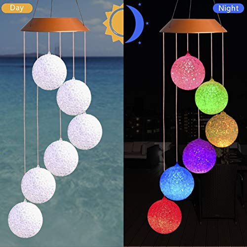 CXFF LED Solar Crystal Ball Wind Chimes Outdoor - Waterproof Solar Powered LED Changing Light Color Six Crystal Balls Mobile Romantic Wind-bell For Home, Party, Festival Decor, Night Garden Decoration