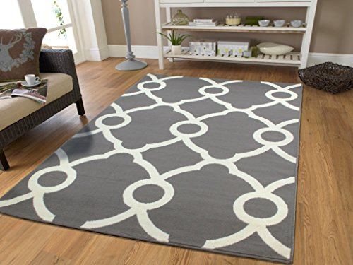 Large Moroccan Style Modern Rug For Living Room White Gray