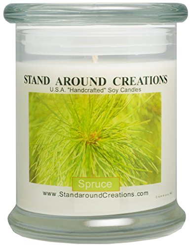 Premium 100% Soy Candle - 12 oz. Status Jar - Spruce: More complex than a typical Frasier or Douglas Fir. Capture the spirit of the holidays. Made w/ natural essential - Status Usps Shipping