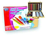 ART SET FOR THE YOUNG ARTIST HAS 68 PIECES IN A BEAUTIFUL HINGED BOX