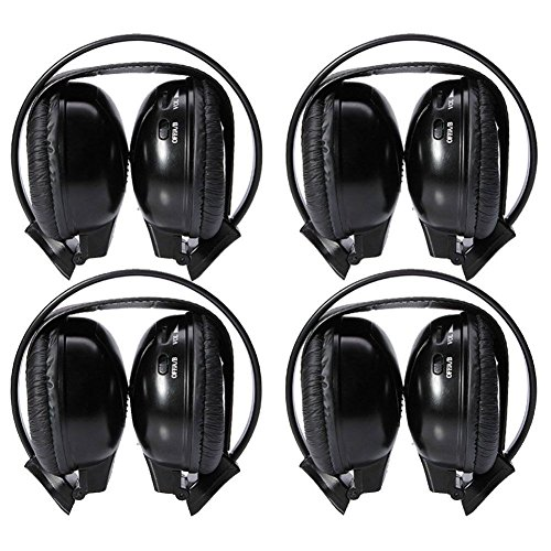 Four Pack of Two Channel Folding Adjustable Entertainment Infrared Headphones 3.5mm Auxiliary Cords Wireless IR DVD Player Head Phones for in Car TV Video Audio Listening