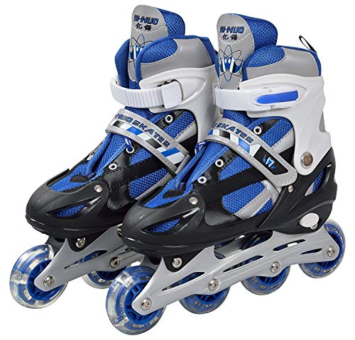 YUGMI SHOP Inline Skates with PU Flashing Wheel Aluminum Body in-Line Skates with Adjustable Length for Age 10-16 Years…
