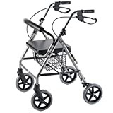 PCP Ultra Lightweight Titanium Rollator with Curved Backrest and Storage Basket, Chrome