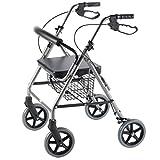 PCP Mobility & Homecare Folding Rollator 4 Wheeled Walker, Titanium