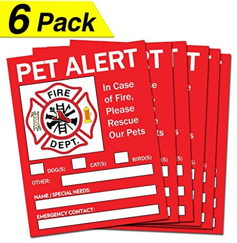 Pet Alert Safety Fire Rescue Sticker - 5'x 4' (6 Pack) - Save Our Pets Emergency Pet Inside Decal - In Case of Emergency Danger Pet In House Home Window Door Sign - Protect Beloved Dogs Cats Birds