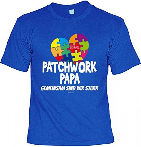 T-Shirt Vater - Patchwork Papa gemeinsam stark - Puzzle - Geschenk Idee mit Humor zum Vatertag Geburtstag - royalblau