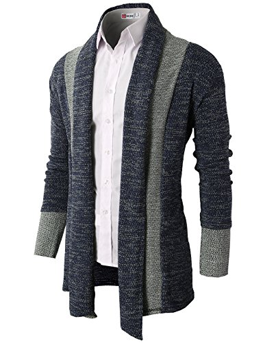H2H Men's Zip Knitted Cardigan Sweater with Double Shawl Collar NAVY US L/Asia XL (Lightweight Zip Cardigan)
