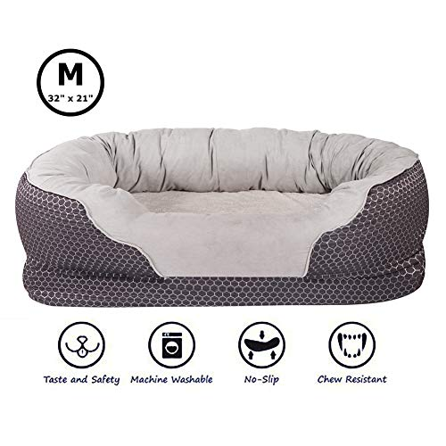(AsFrost Dog Beds with Padded Rim Cushion and Nonslip Bottom, Grooved Orthopedic Dog Beds Snuggly Sleeper with Grooved Orthopedic Foam -Dark Blue)