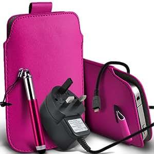 Nokia Lumia 900 premium protección PU ficha de extracción de deslizamiento del cable En caso de la cubierta de la piel de la bolsa de bolsillo, Retractable Stylus Pen & Micro USB CE aprobó 3 Pin Cargador de rosa caliente por Spyrox