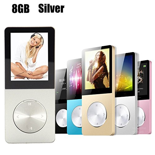 Yurieso 8GB Portable Lossless MP3/MP4 Music Player for Kids Teens Adults Men Boys Girl,Expandable up to 64GB,With FM,Recorder,E-book,Photo Viewer,Calendar,Alarm,Screensaver,External Speaker,Silver