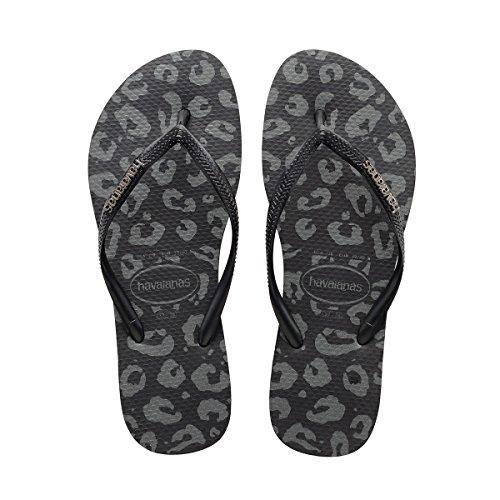 Havaianas Women's Slim Metal Animals Sandal Black Sandal 41/42 Brazil (US Men's 9/10, Women's 11/12) M
