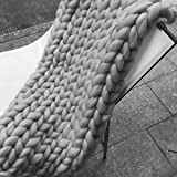 "eacho Chunky Knit Blanket Handmade Bulky Sofa Pet Mat Soft Knitting Throw Bed Rug Blanket Bedroom Decor, Grey, 40"" x 47"""