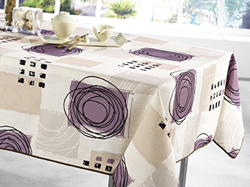 Tablecloth, Stain Resistant, Spill Proof, Liquid Spills Beige U201cPurple  Circleu201d