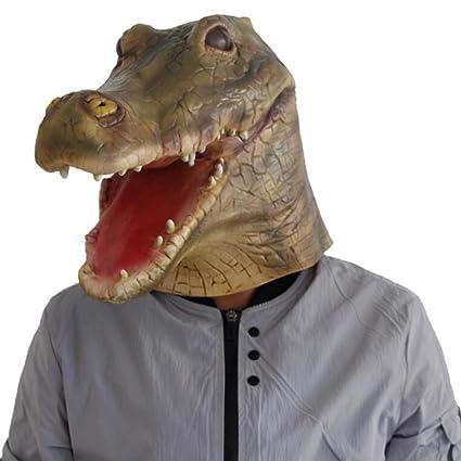 QIONGQIONG Halloween Látex Cocodrilo Dinosaurio Máscara Animal Máscara Disfraz De Juguete Cosplay Terror Partido