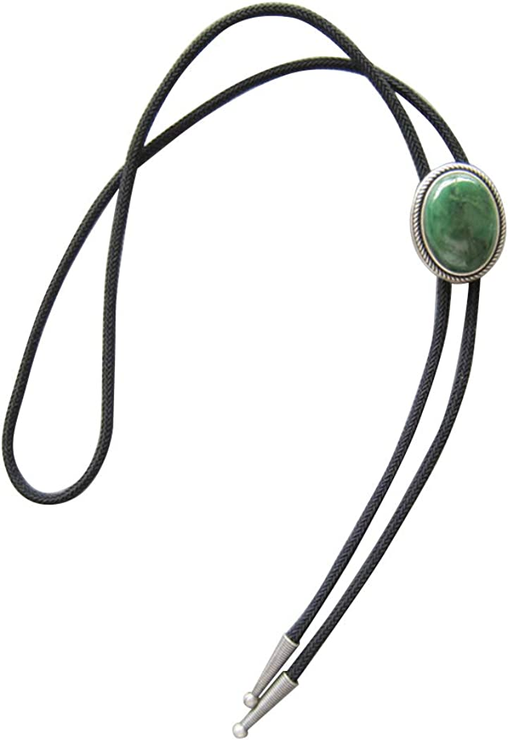 New JEAN'S FRIEND Original Handcraft Nature Green Stone Oval Bolo Tie