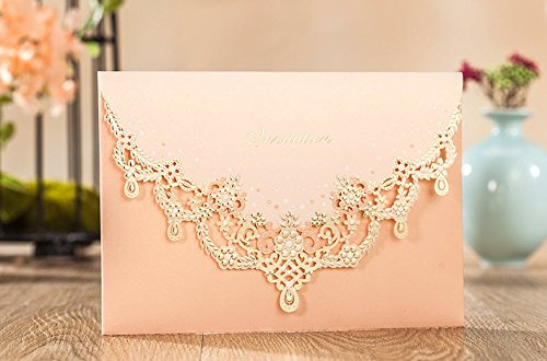 Wishmade Wedding Invitations Cards, Light Pink, 100 Pieces, CW7011, Customized Printing by Wishmade