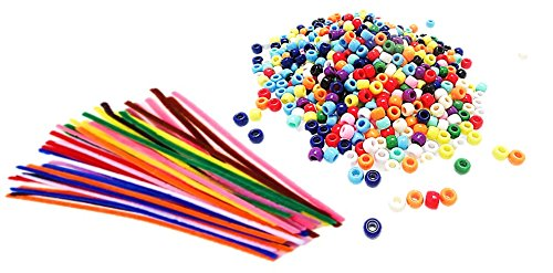 Multi Color Pony Beads 9mm - 1000pcs, with 100 Pipe Cleaner, Assorted Colors