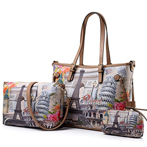 Womens 3 Pcs Shoulder Handbags Large Capacity Top-Handle Purse Set by Realer(Eiffel Tower) - Open Carefully Message Inside