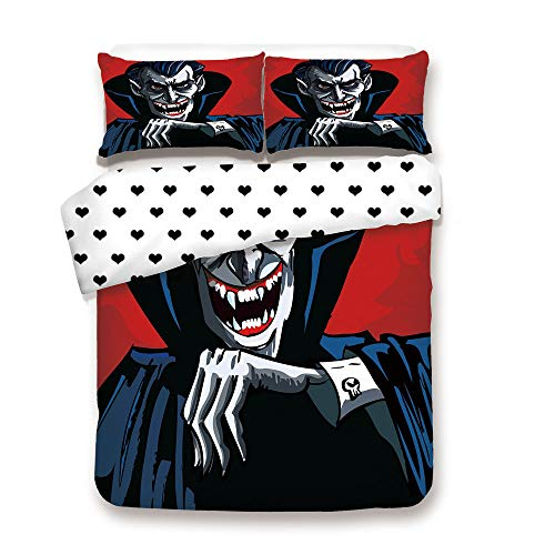 Duplex Print Duvet Cover Set Queen Size/Cartoon Cruel Old Man with Cape Sharp Teeth Evil Creepy Smile Halloween Theme/Decorative 3 Piece Bedding Set with 2 Pillow Sham,Blue Red Grey,Best Gift For Your ()