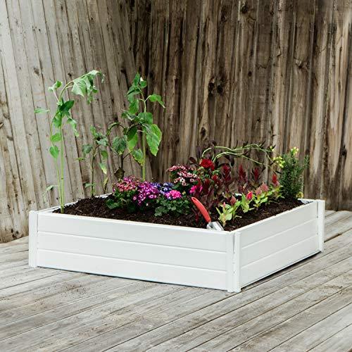 (White Planter Box, Elevated Home Gardening, Raised DIY Vinyl Vegetable Garden)