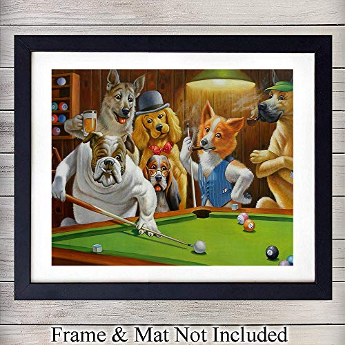 Hustler Dogs Playing Pool - Unframed Wall Art Print - Great Home Decor for Game Room or Man Cave - Awesome Gift For Animal Lovers - Ready to Frame (8X10) -