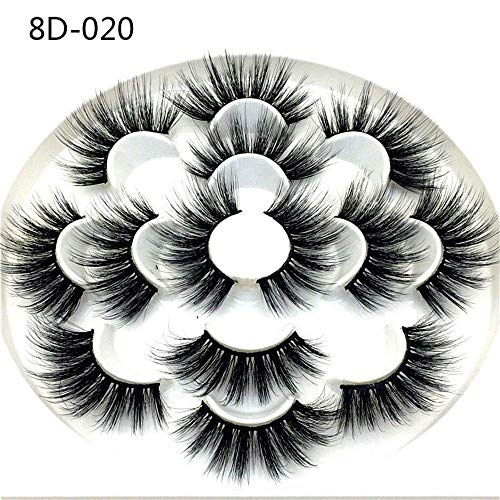 8D Mink Hair Lashes 7 Pairs 25mm Woman' Fashion Wispy Fluffy Hair Cruelty-free Thick Long False Eyelashes Extension (8D-020)