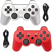 Tidoom PS3 Controller 2 Pack Wireless Bluetooth 6-Axis Gamepad Controllers Compatible for Playstation 3 Dualsh