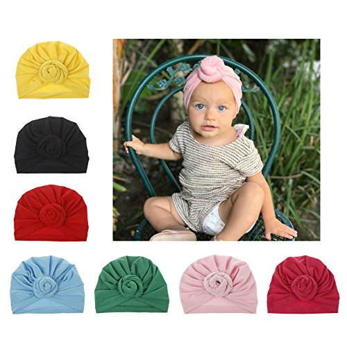 Upsmile 7 Pieces Adorable Baby Knot Headbands Newborn Elastic Stretch Head Wrap Baby Hat