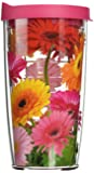 """Tervis """"Gerbera Daisy"""" Tumbler with Pink Lid, 16 oz, Clear"""