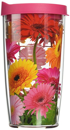 Tervis 1076394 Gerbera Daisies Tumbler with Wrap and Fuchsia Lid 16oz, (Tervis Tumbler Flowers)