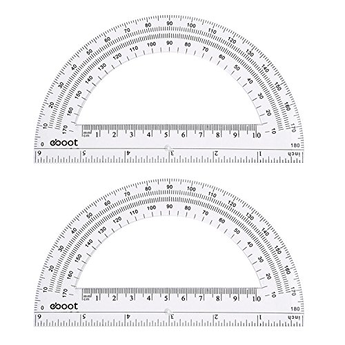 eBoot Plastic Protractor Math Protractors 180 Degrees, 6 Inches, Clear, Pack of 2