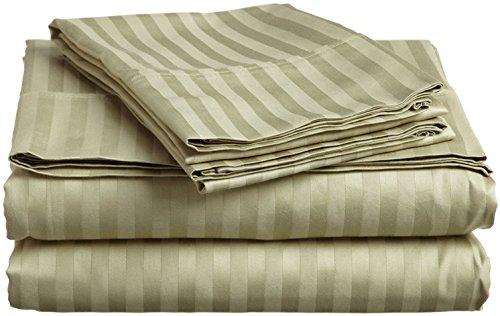 - ITALIAN 4PC FULL Sheet Set, Striped SAGE GREEN