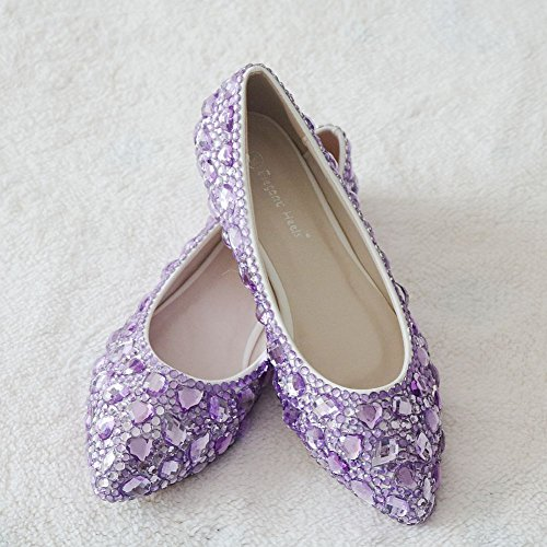 Mouth LEIT Purple Shoes Shallow Shoes Rhinestone Pointed Thin Women's Flat BZXOZvWqS
