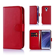Xiaomi Redmi 4 Case by 32nd Book Style Faux Leather Wallet Cover for Redmi 4 - Red