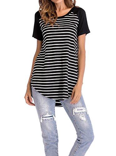 Adreamly Women's Black and White Striped Short Sleeve Baseball T Shirt Blouse Tunic Tops Black Large