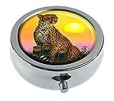 Hiuyi Cheetah And Cubs Custom Personalized Round Pill Box Pocket Wallet Travel Pill Vitamin Decorative Box Protector