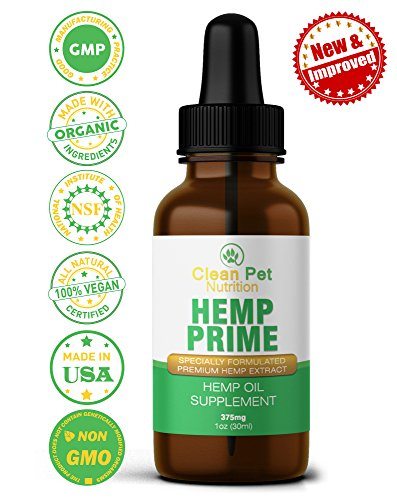 Hemp Oil for Dogs & Cats - Organic Hemp Oil for Anxiety & Stress Relief- Arthritis Pain Relief - Hip & Joint Dog Supplement - Apply to Hemp Prime Treats (375mg)