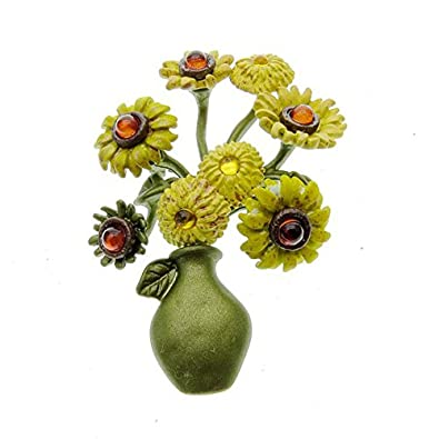 SODIAL Vintage brooch jewelry Sunflower brooches scarves Womens wedding accessories brooch
