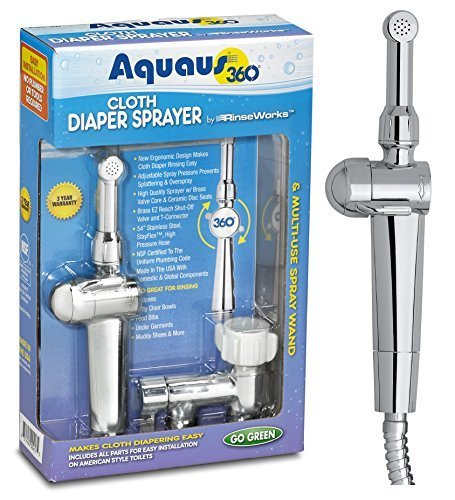 New! Aquaus 360° Premium Cloth Diaper Sprayer w/ thumb pressure controls on the sprayer- EZ pressure control makes rinsing cloth diapers quick & easy, preventing overspray & splattering RinseWorks ADST-360