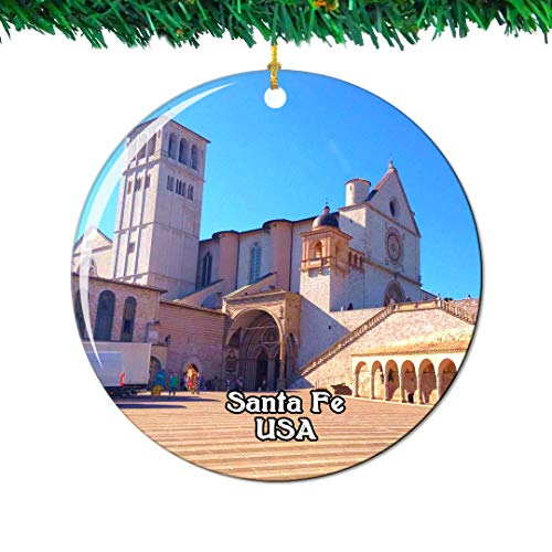 Weekino The Cathedral Basilica of St. Francis of Assisi Santa Fe America USA Christmas Ornament City Travel Souvenir Collection Double Sided Porcelain 2.85 Inch Hanging Tree Decoration (Cathedral Basilica Of St Francis Of Assisi)