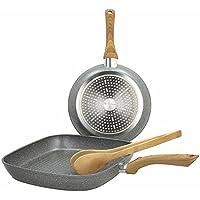 Tognana Porcellane Set Padella 24cm + Grill 28x28cm + Pinza Chef Bamboo Stone&Wood