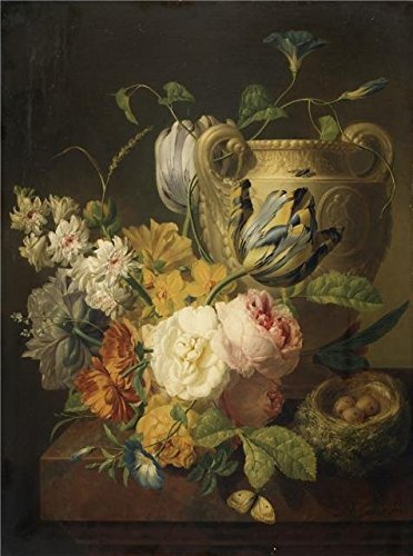 'Peter Faes-Flowers By A Stone Vase,1786' Oil Painting, 20x27 Inch / 51x68 Cm ,printed On Perfect Effect Canvas ,this Cheap But High Quality Art Decorative Art Decorative Prints On Canvas Is Perfectly Suitalbe For Dining Room Decoration And Home Gallery Art And (2)