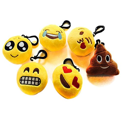 Nuoxinus Emoji Keychain Mini Cute Plush Toys Handbag Key Chains Bags Backpack Accessories for Women Men Teens Girls Boys Kids (Set of 6, 2.4 inch)