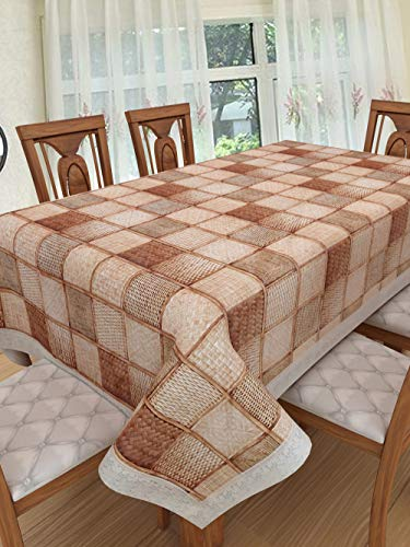 Clasiko 6 Seater PVC Table Cover; Light Brown & Dark Brown Checks; Anti Slip; 60×90 Inches; 6 Seater Price & Reviews