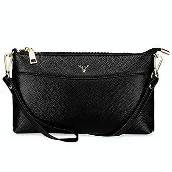 YALUXE Women's Wristlet Clutch Wallet Genuine Leather Crossbady Bag Handbag Cell Phone Purse
